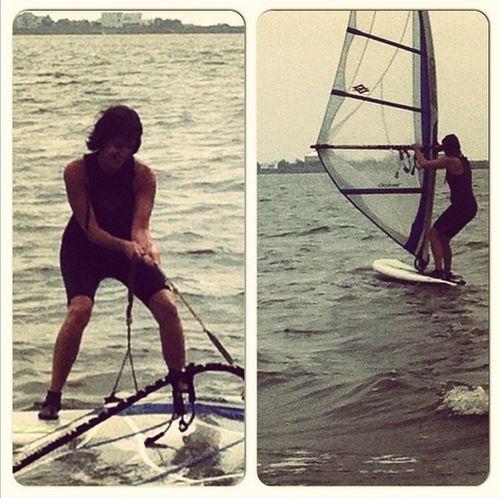 Catherine Canino windsurfing
