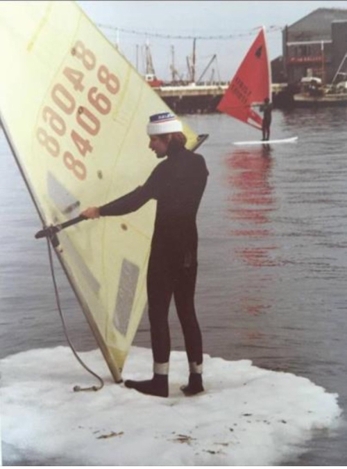 Cold weather windsurfing old school