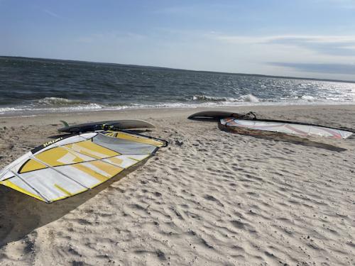 Windsurfing sails at south jamesport